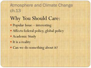 Atmosphere and Climate Change ch.13