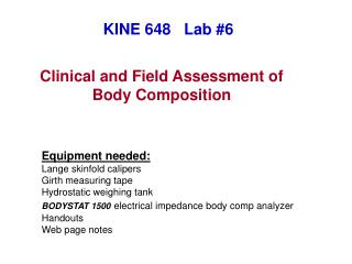 Clinical and Field Assessment of Body Composition