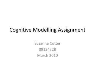 Cognitive Modelling Assignment