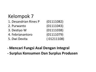 -  Mencari Fungsi Asal Dengan  Integral - Surplus  Konsumen Dan Surplus  Produsen