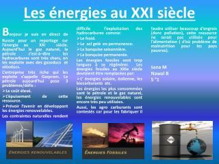Les énergies au XXI siècle