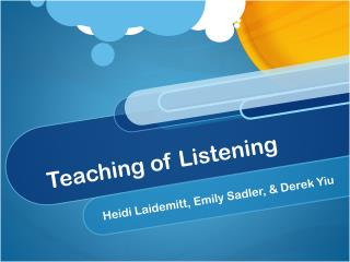 Teaching of Listening