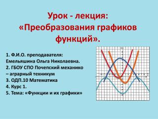 Урок - лекция: «Преобразования графиков функций».