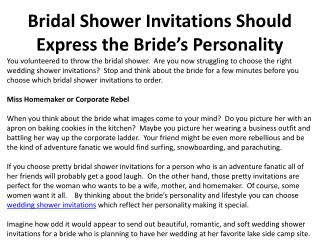Bridal Shower Invitations Should Express the Bride