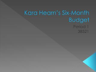 Kara Hearn�s Six-Month Budget