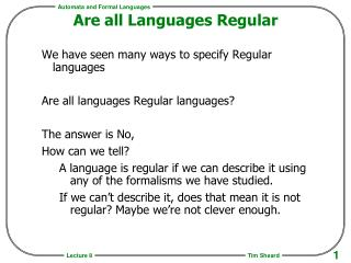 Are all Languages Regular