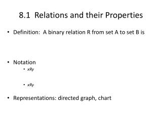 8.1  Relations and their Properties