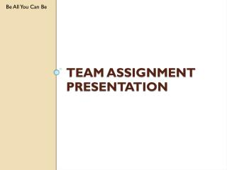 Team Assignment presentation