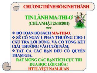 TIN LÀNH MA-THI- Ơ  (CHÚA NHẬT 23/10/2011) ***  ĐỐ TOÀN BỘ SÁCH  MA-THI- Ơ .