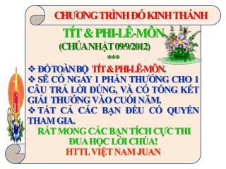 TÍT & PHI-LÊ-MÔN                     (CHÚA  NHẬT  09/9/2012 ) *** ĐỐ TOÀN BỘ    TÍT & PHI-LÊ-MÔN .