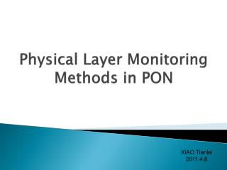 Physical Layer Monitoring Methods in PON