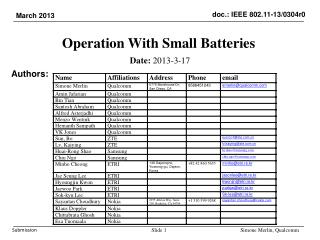 Operation  With Small Batteries