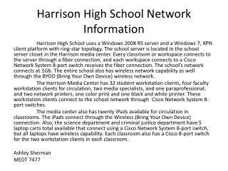 Harrison High School Network Information