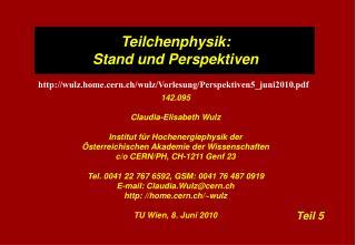 Teilchenphysik:  Stand und Perspektiven