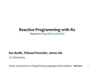 Reactive Programming with Rx  (based on   bit.ly/cAxKPk )