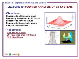 LECTURE  19:  FOURIER ANALYSIS OF CT SYSTEMS