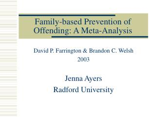Family-based Prevention of Offending: A Meta-Analysis