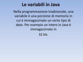 Le variabili in Java