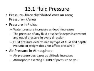13.1 Fluid Pressure