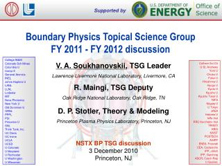 Boundary Physics Topical Science Group FY 2011 - FY 2012 discussion