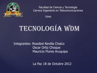 Facultad de Ciencia y Tecnología  Carrera Ingeniería en Telecomunicaciones