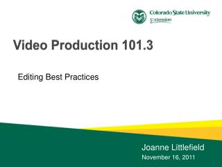Video Production  101.3