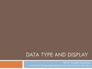 Data Type and Display