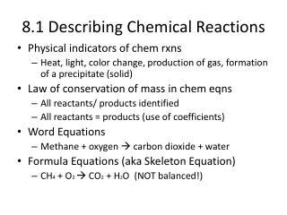 8.1 Describing Chemical Reactions