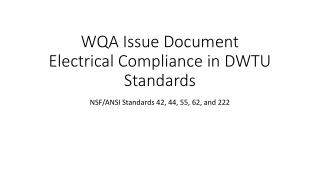 WQA Issue Document Electrical Compliance in DWTU Standards