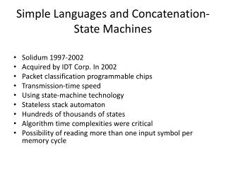 Simple Languages and Concatenation-State Machines