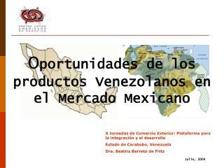 Oportunidades de los productos Venezolanos en el Mercado Mexicano