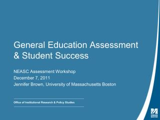 General Education Assessment & Student Success