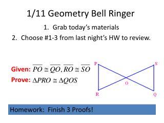 1/11 Geometry Bell Ringer