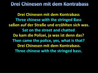 Drei Chinesen mit dem Kontrabass Three  chinese  with the stringed Bass
