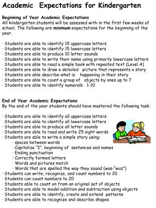Academic  Expectations for Kindergarten Beginning  of Year Academic  Expectations