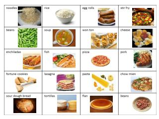Food picture and word cards