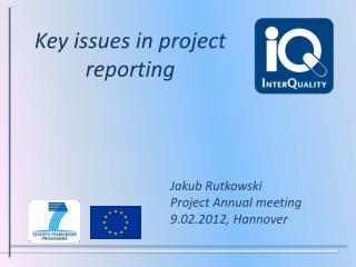 Key issues  in  project reporting