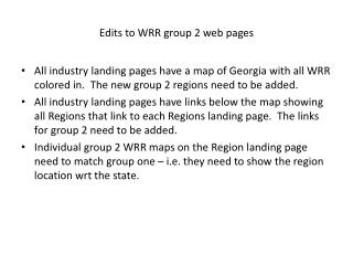 Edits to WRR group 2 web pages