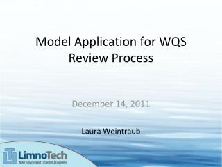 Model Application for WQS Review Process