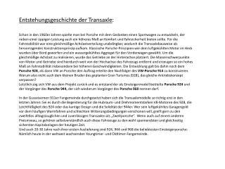 Entstehungsgeschichte der  Transaxle :