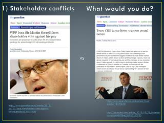 1) Stakeholder conflicts