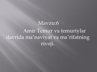 Mavzu:6