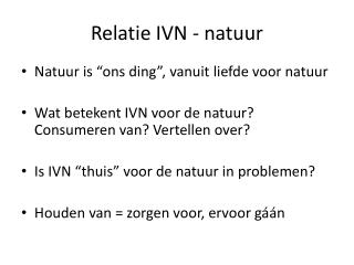 Relatie IVN - natuur