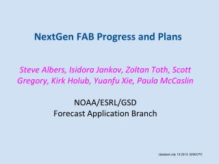 NextGen FAB Progress and Plans