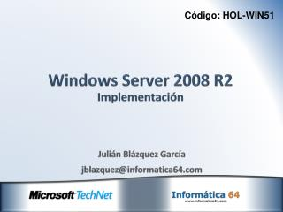 Windows Server 2008 R2 Implementación