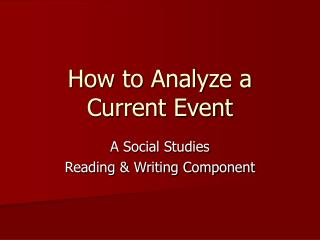 How to Analyze a Current Event