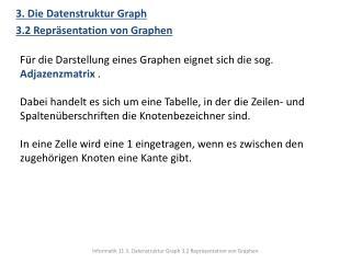 3. Die Datenstruktur Graph 3.2 Repräsentation von  Graphen
