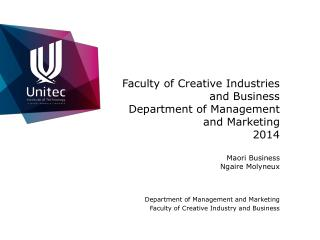 Department of Management and Marketing Faculty of Creative Industry and Business