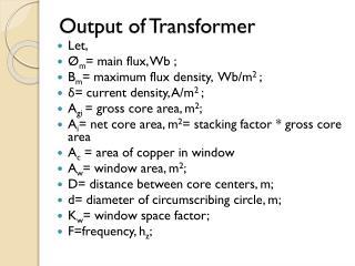 Output of Transformer