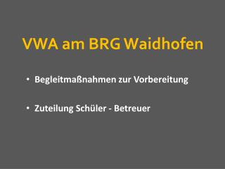 VWA am BRG Waidhofen